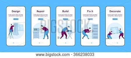 Home Repair Onboarding Mobile App Screen Flat Vector Template. Decorate House. Maintain Household. W
