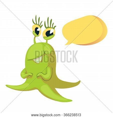Smiling Extraterrestrial Flat Cartoon Vector Illustration. Cute Alien. Ready To Use 2d Character Tem