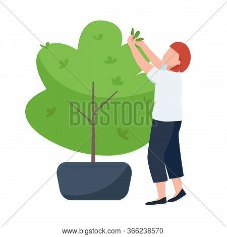 Female With Secateurs, Gardener, Landscape Designer Flat Color Vector Faceless Character. Bush Trimm