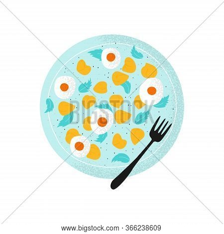 Plate With Salad Chick Peas, Green Leaves, Eggs, Paper. Gram Or Chickpea In Modern Flat Vector Style