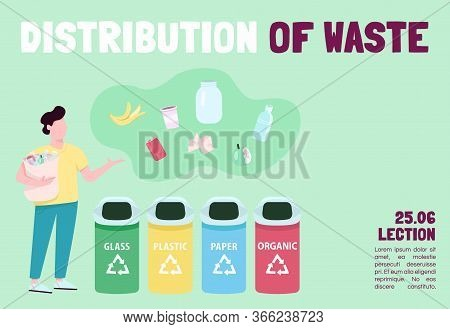Distribution Of Waste Banner Flat Vector Template. Brochure, Poster Concept Design With Cartoon Char