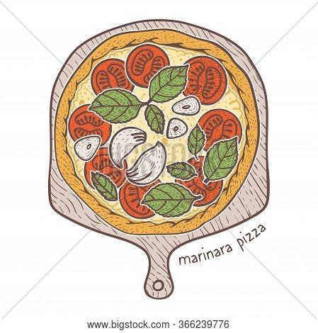 Marinara Pizza With Tomato And Garlic And Basil, Sketching Illustration