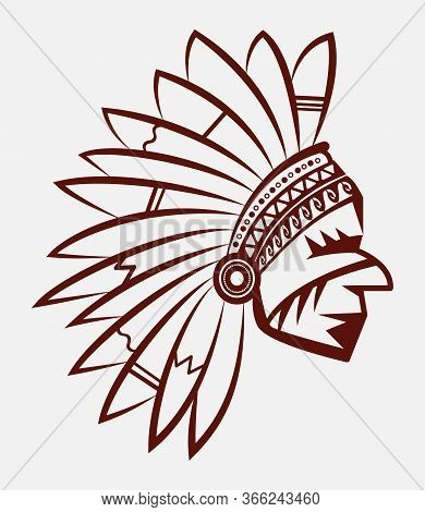 Logo Or Icon Of Man Native American Indian Chief In A National Feather Headdress. Wild West Emblem.