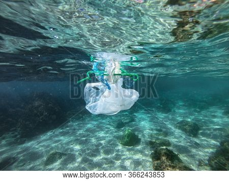 Plastic Bags And Bottles Pollution In Sea