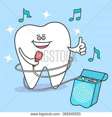 Cartoon Tooth With Dental Floss. Flossing And Cleaning Teeth. Dental Care And Hygiene Illustration O