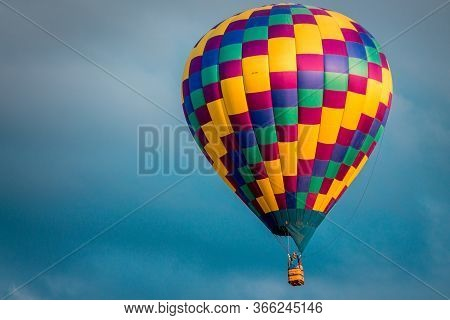 Close Up Shot Of Hot Air Balloon Flying In The Sky At An Airshow