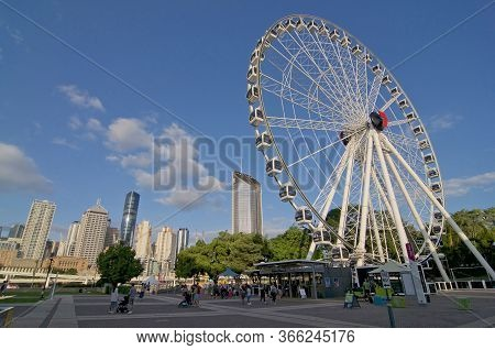 Brisbane, Qld, Australia - 29th February 2020 : View Of The Wheel Of Brisbane (also Known As Brisban