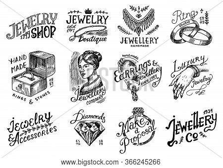 Womens Jewelry Shop Badges And Logo Set. Luxury Accessories, Wedding Rings, Victorian Woman And Earr