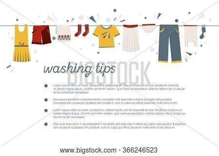 A Set Of Illustrations On The Theme Of Washing Clothes, Laundry. Blank For Poster, Banner On Cleanli