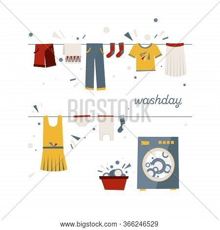 Set Of Icons On The Theme Of Washing Clothes, Laundry. Illustrations For A Poster About Cleanliness.