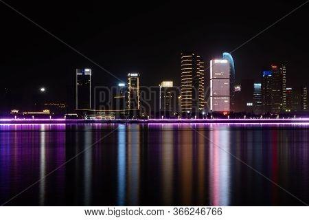 Zhejiang, China - May 21, 2019: Night Skyline View Of Hangzhou With Modern Colorful Light Decoration