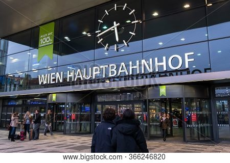 Vienna, Austria - October 8, 2019: View Of The Northern Entrance Gate To Wien Hauptbahnhof, The Main