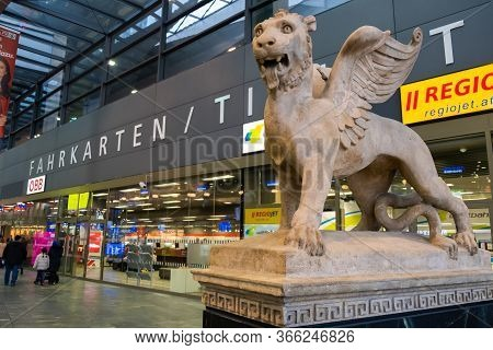 Vienna, Austria - October 8, 2019: View Of Sculpture At The Northern Entrance Gate To Wien Hauptbahn