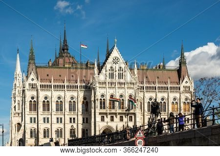 Budapest, Hungary - October  11, 2019: View Of The Hungarian Parliament Building Or Parliament Of Bu