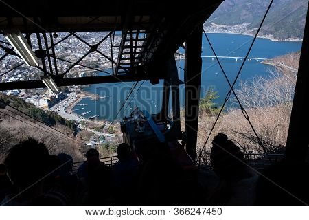 Yamanashi, Japan - March 24, 2019: View Of Mt. Fuji Panoramic Ropeway Station For Lifting To The Pea