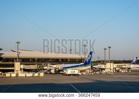 Chiba, Japan - March 24, 2019: View Of Ana Or All Nippon Airways Plane, The Largest Airline In Japan