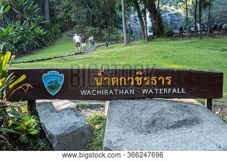 Chiang Mai, Thailand - February 22, 2019: Wachirathan Waterfall At Doi Inthanon National Park, Mae C