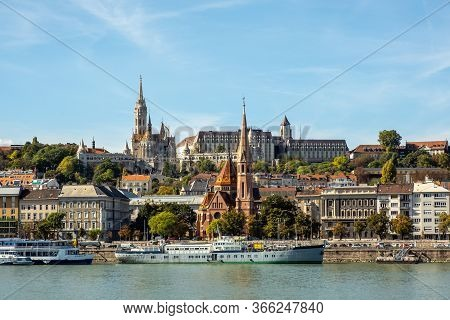 Budapest, Hungary - October  11, 2019: Aerial Skyline View Of Buda Side In Budapest Of Danube River,