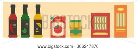 Supermarket Shelf With Pasta, Spaghetti, Sauces, Ketchup And Mustard. Grocery Store Banner Or Backgr