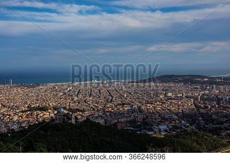 Aerial View Of Barcelona City From Tibidabo Mountain With Copy Space
