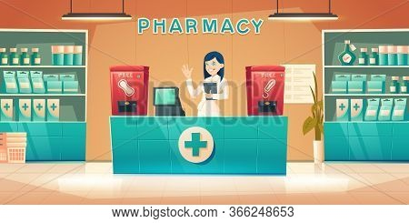 Pharmacy With Pharmacist Woman At Counter Desk, Cartoon Drugstore Interior With Cashier, Medical Pro