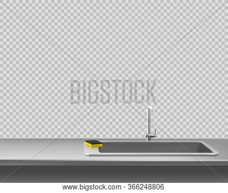 Kitchen Metal Sink With Faucet And Sponge On Steel Countertop, Table Surface Front View Isolated On
