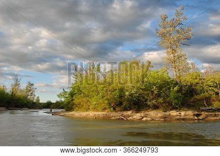 The River In The Forest , Ledge On The Urup River Sunset, Spring Landscape.