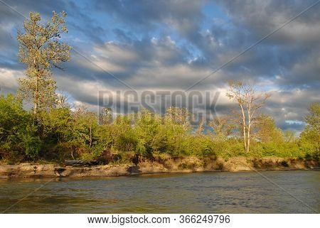 River In The Forest, Ledge On The Urup River Sunset, Spring Landscape. Against The Background Of Clo