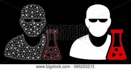 Bright Mesh Scientist With Flask With Glow Effect. Abstract Illuminated Model Based On Scientist Wit