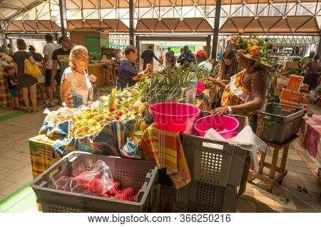 Fort-de-france, Martinique, Fr - 21 July 2017: Covered Market In Fort-de-france, Martinique Island,