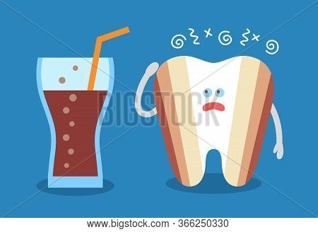 Cartoon Tooth With A Glass Of Soda And With Decay Or Caries. Dental Illustration. Dentistry Icon. Te