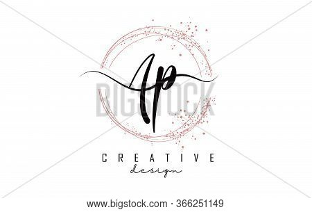 Handwritten Ap A P Letters Logo With Dust Pink Sparkling Circles And Glitter. Decorative Shiny Vecto