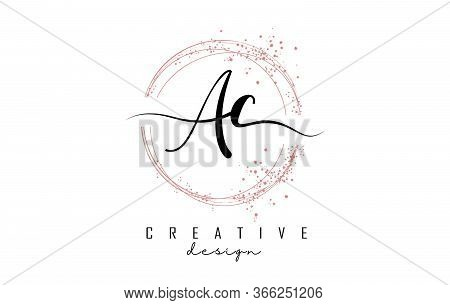 Handwritten Ac A C Letters Logo With Dust Pink Sparkling Circles And Glitter. Decorative Shiny Vecto
