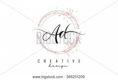 Handwritten Ad A D Letters Logo With Dust Pink Sparkling Circles And Glitter. Decorative Shiny Vecto
