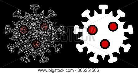 Bright Mesh Sars Virus With Lightspot Effect. Abstract Illuminated Model Based On Sars Virus Icon. S