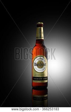 Minsk, Belarus - May 10, 2020: Bottle Of Warsteiner Pilsner Beer.