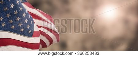 American National Holiday. Us Flags With American Stars, Stripes And National Colors. President's Da
