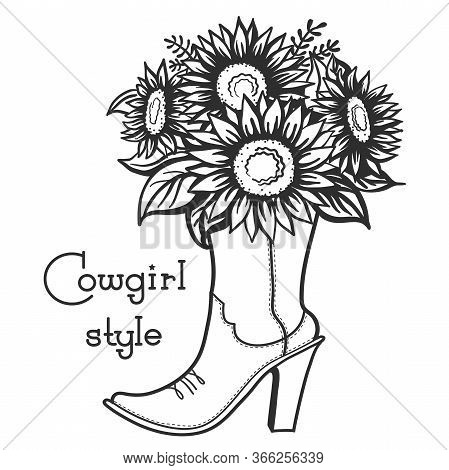 Cowgirl Boot With Floral Bouquette And Text. Ladies Cowboy Vector Boot Illustration With Flowers Iso