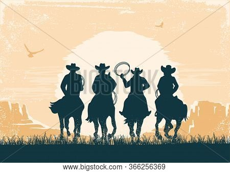 Cowboys Silhouette Riding Horses At Sunset Landscape. Vintage Vector Prairie Desert With Sun And Can