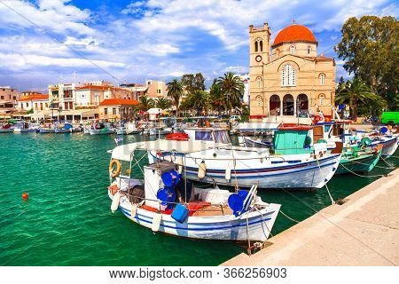 pictorial idyllic greek islands - Aegina , Saronic Gulf, Greece