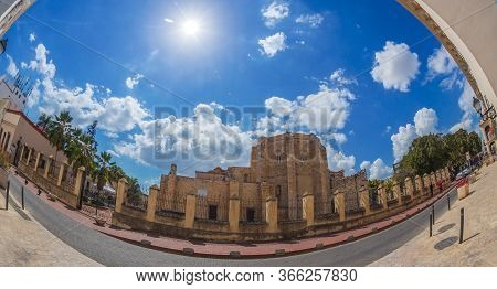 Large Angle View Of The Cathedral Of Santa Maria La Menor In The Colonial Zone Of Santo Domingo, Dom