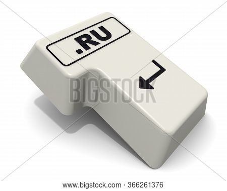 One Enter Key Of Keyboard Labeled Domain Name .ru. Computer Enter Key Of Keyboard With Black Text .r