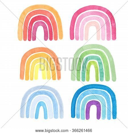 Cute Watercolor Rainbows Isolated On White Background.