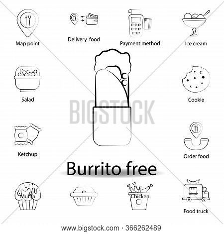Fast Food Burrito, Free Outline Icon. Set Of Food Illustration Icon. Signs And Symbols Can Be Used F