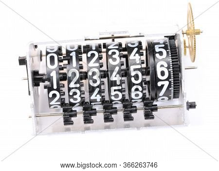 Old Analog Meter With Big White Numbers On A Black Background
