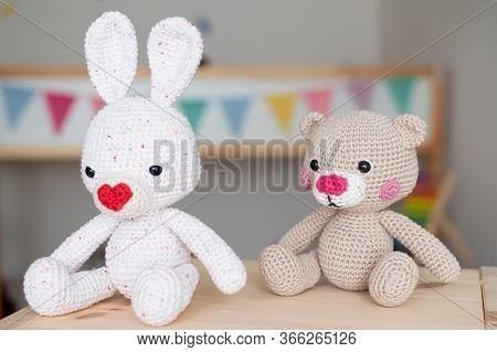 Crochet Amigurumi Toy For Baby. White Crochet Bunny And Teddy Bear