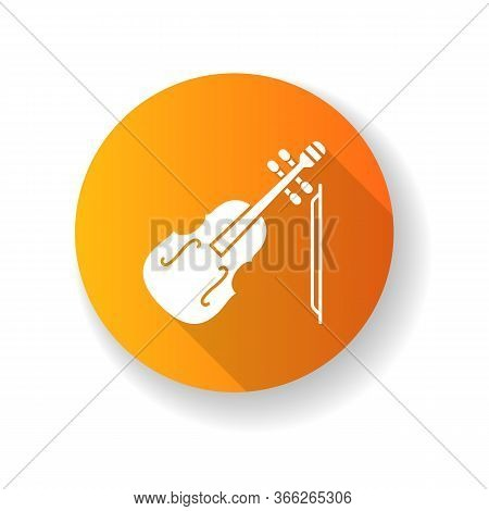 Violin Orange Flat Design Long Shadow Glyph Icon. Orchestral Musical Instrument. Classical Music Per