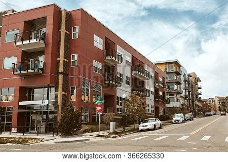 Commercial Businesses And Modern Condominium Developments In The Lower Highlands Neighborhood Of Dow