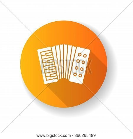 Accordion Orange Flat Design Long Shadow Glyph Icon. Classical Musical Instrument To Play Folk. Live