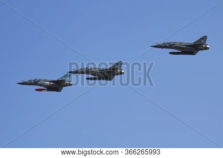 Fairford / United Kingdom - July 11, 2018: French Air Force Mirage 2000d Fighter Jets Arrival For Ri